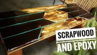 Shou Sugi Ban Epoxy Outdoor Bench /Scrap Wood Challenge #withme