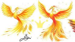 Phönix zeichnen 👑 Bild von der eigenen Vorlage abzeichnen 👑 How to draw phoenix