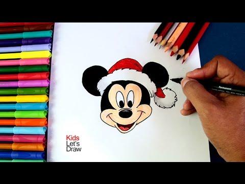 Como Dibujar A Mickey Mouse En Navidad How To Draw The Face Of