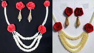 How to make flower jewelry for mehndi at home - Make flower jewellery for haldi