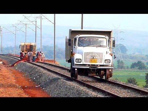 UNIQUE TRUCK ON RAILS INDIAN RAILWAYS CONSTRUCTION SITE