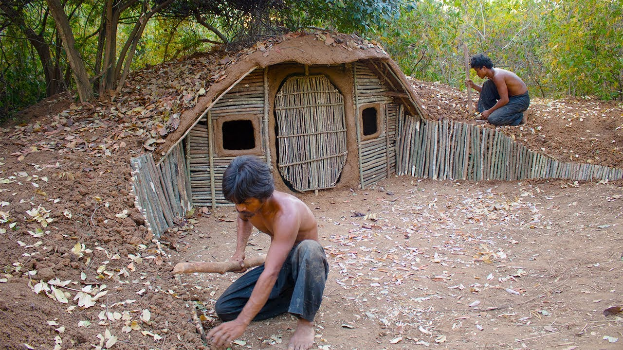 Build house underground using wood primitive technology - When building a house ...