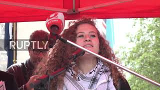 UK: Ahed Tamimi addresses pro-Palestine rally in London