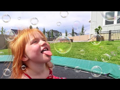 EATING BUBBLES!! Backyard filled with bubble makers!  (BEST NEW GAME)