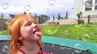 Eating Bubbles Backyard Filled With Bubble Makers  Best New Game
