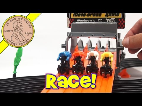 Tomy Moto-Cross Bicycle Racing Game Track Set - Vintage Toy Racing Playset