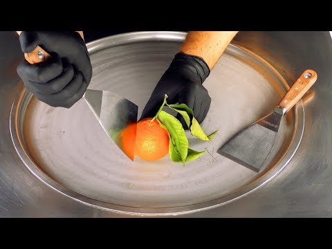 ASMR - Tangerine Ice Cream Rolls   satisfying mandarin fried rolled Ice Cream - fast ASMR   Food 4k