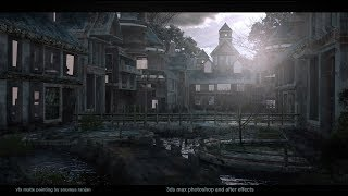 matte painting tutorial 3dsmax and photoshop morning village