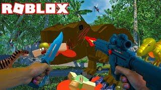 Realistic Roblox - ESCAPING THE DINOSAUR IN ROBLOX (ROBLOX DINOUSAUR HUNT)