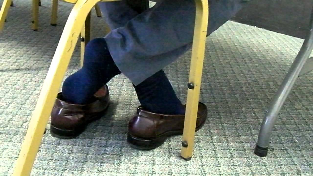 Candid feet shoeplay in nylons at conference - 2 part 4