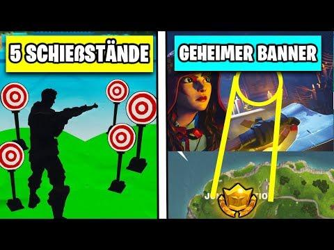 Fortnite 5 Schießstände 🎯 Geheimer Banner & 3 Klingeln | Season 6 Woche 4 Battlepass Deutsch German