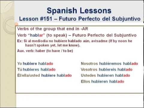 Free Spanish Lessons 151 Spanish Subjunctive Tensefuture Perfect