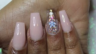 BLACK FRIDAY SALE! How To: Light Salmon Nails with Swarovski Crystals