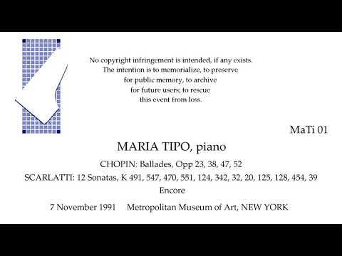 MARIA TIPO Live Recital 1991   CHOPIN  SCARLATTI   NEW YORK