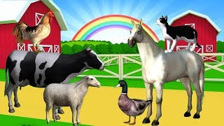 Name and Sound Farm Animals | Animated animal Sounds | Children's learning.
