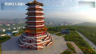 Feast your eyes on the aerial view of the landmark of Guyuan, in the Ningxia, China.