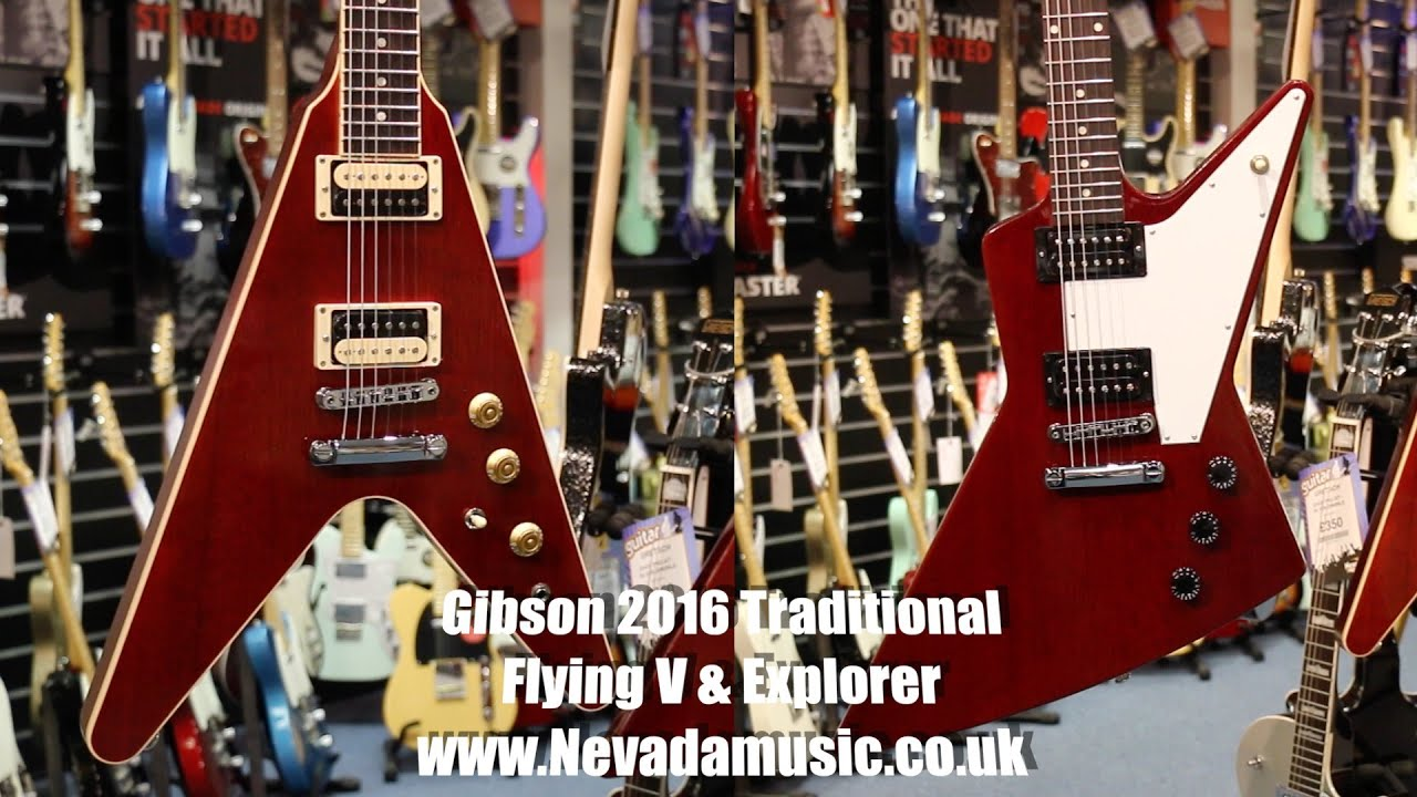 Gibson 2016 Flying V and Explorer T close up at PMT Portsmouth