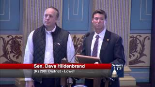 Sen. Hildenbrand presents Robb Munger of Exodus Place with a Special Tribute