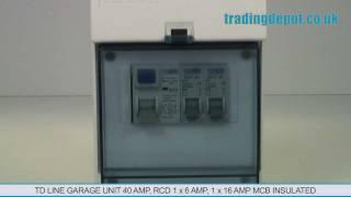 trading depot tdline garage unit 40amp rcd 1x6amp 1x16amp mcb insulated part no tdgu616