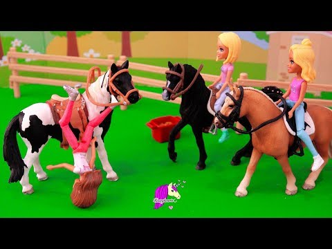 First Time Falling Off A Horse ! Barbie Dolls Ride Schleich Horses Video
