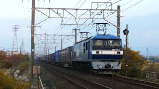 2019/12/12 JR貨物 朝の大谷川踏切から定刻で通過した5本の貨物列車