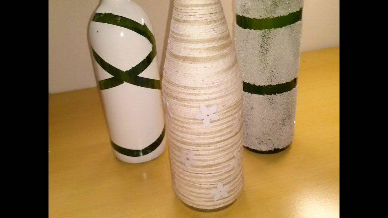 Reciclando garrafa de vidro para decorar a casa passo a passo YouTube -> Decorar Garrafas De Vidro Com Barbante