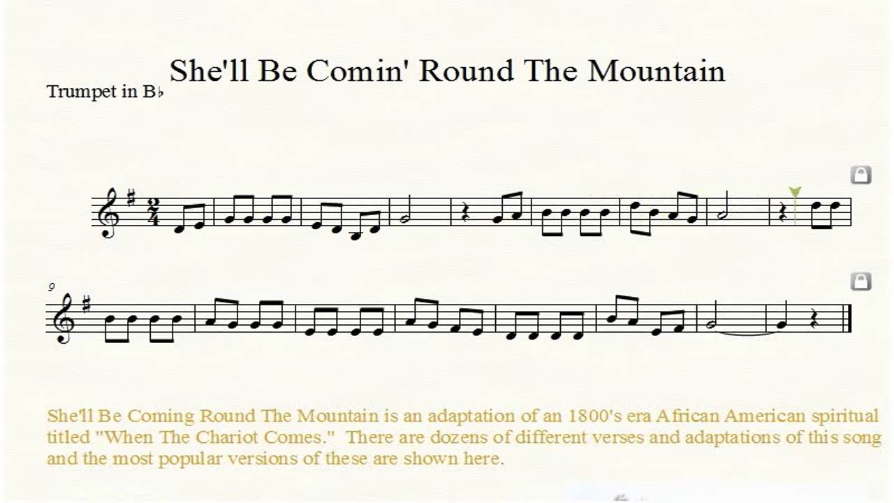 She'll Be Coming Round The Mountain Trumpet Sheet Music