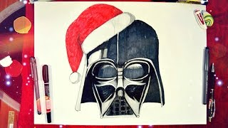 Darth Vader Drawing Tutorial / Санта Вейдер! / DA