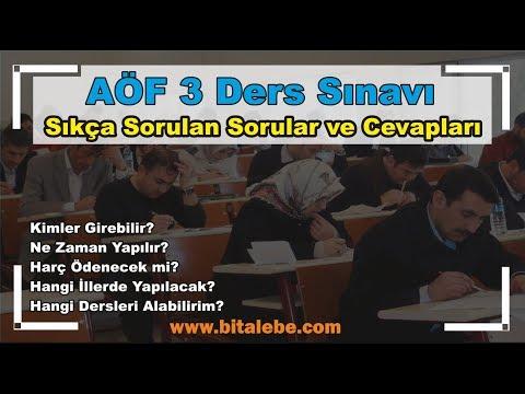 Açık Öğretim Fakültesi (AÖF) 3 Ders Sınavı