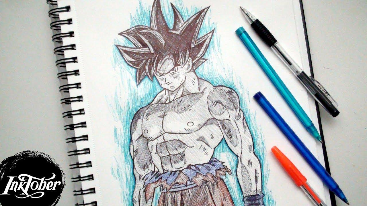 Goku ultra instinct pen drawing inktober day 13 youtube - Goku ultra instinct sketch ...