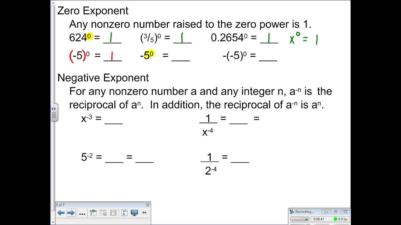 Lesson 7 2 Dividing Monomials Negative Exponents