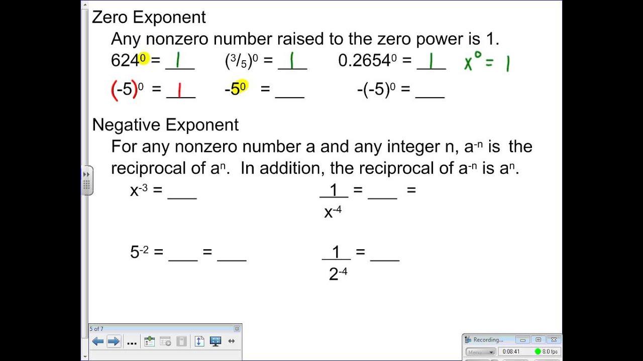 Lesson 7 2 Dividing Monomials Negative Exponents