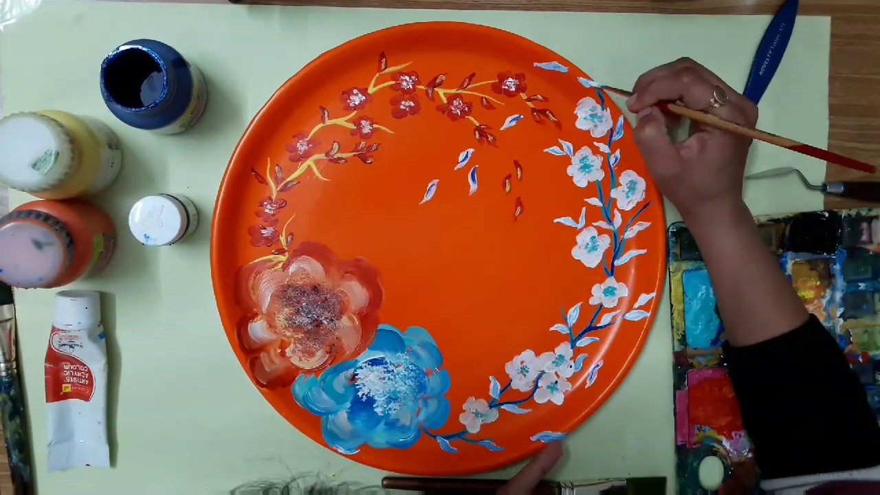 Acrylic Flower Painting For Beginners On Plastic Plate Floral Painting Easy Step By Step Tutorial Youtube