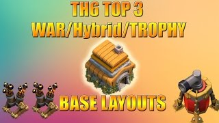 Clash of Clans | Best 3 Town Hall 6 Base TH6 Farming/War/Trophy Base Layout With 2 Air Defense 2016