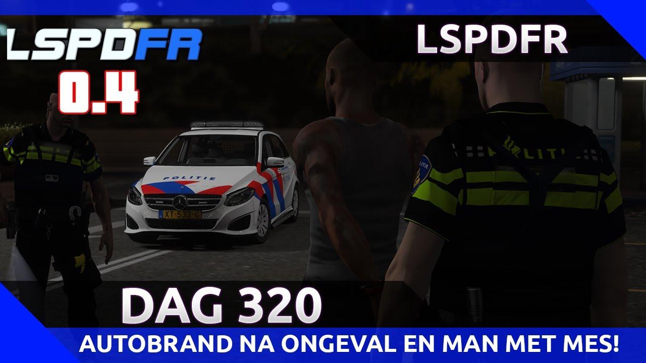 GTA 5 lspdfr dag 320 - Autobrand na ongeval en man valt ons aan met mes!