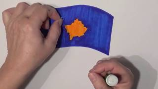 Learn geography for kids How to draw a flag Kosovo