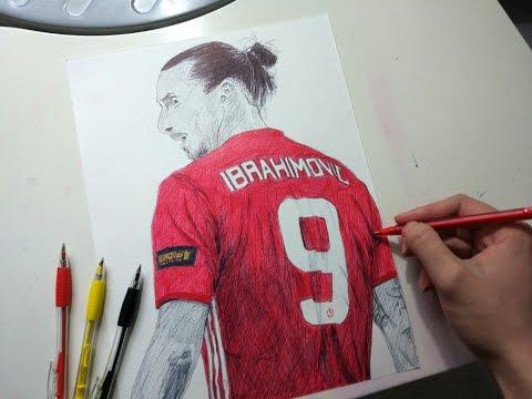 Zlatan Ibrahimovic Pen Drawing - Manchester United
