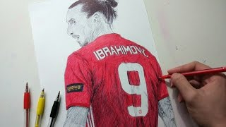 Zlatan Ibrahimovic Pen Drawing - Manchester United