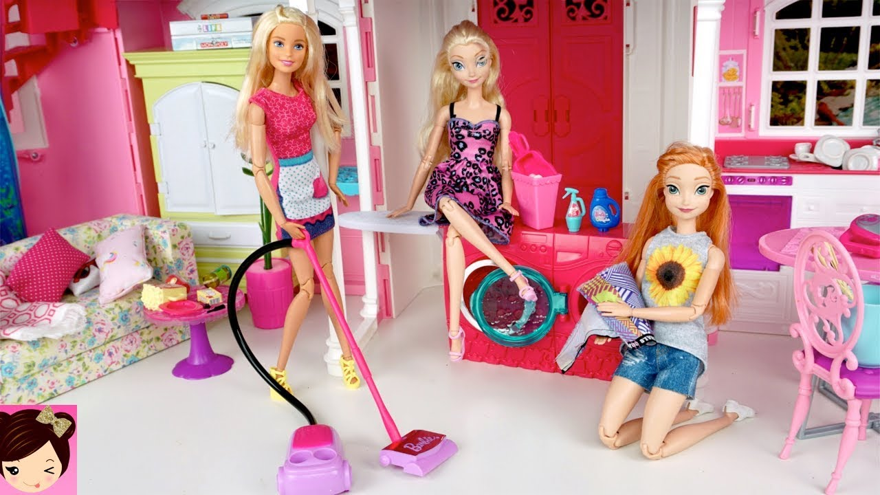 Barbie House Cleaning Morning Routine Frozen Queen Elsa