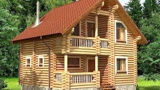 Проект дома из оцилиндрованного бревна ДСЭ 15(Это цена только за сам домик, это без допов, фундамента и тд, это только коробка с работой 18 бревно 7600 руб.м2..., 2015-12-27T15:05:22.000Z)