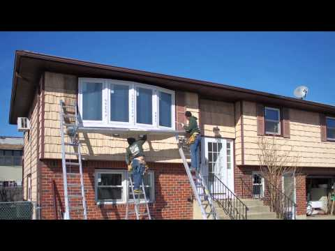 Large Bow Window with Dark Brown Trim - Installation - Timelapse - Renewal by Andersen