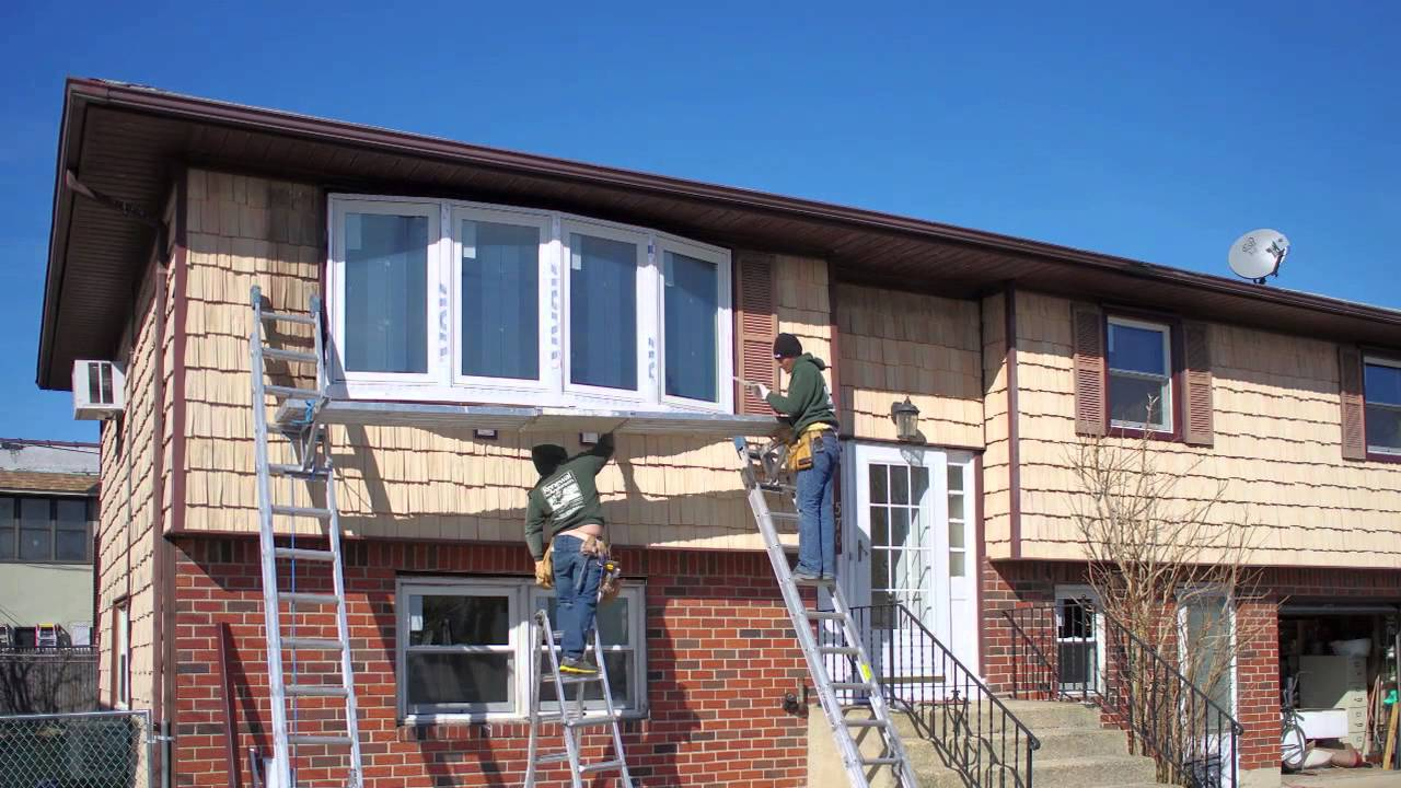 Large Bow Window With Dark Brown Trim   Installation   Timelapse   Renewal  By Andersen