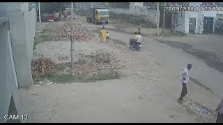 Motorcycle and Truck Accident Caught in CCTV Camera - Live Video