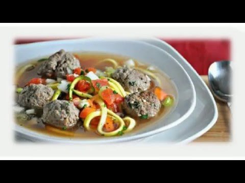 How to make Italian Meatball Zucchini Noodle Soup Recipe