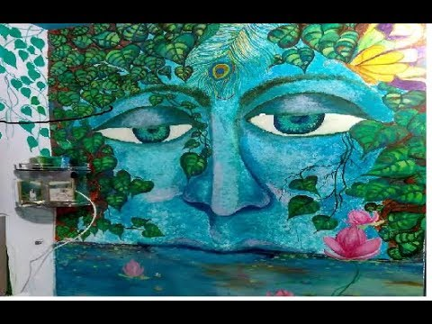 make Lord Krishna  Acrylic WALL PAINTING technique