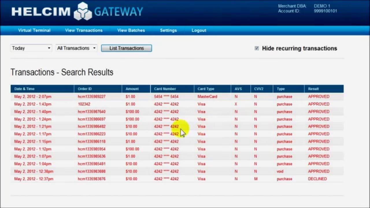 Online virtual terminal credit card processing