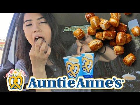 Auntie Anne's Mukbang   National Pretzel Day