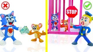 SUPERHERO BABY POLICE STOPS TOM AND JERRY 💖 Play Doh Cartoons For Kids