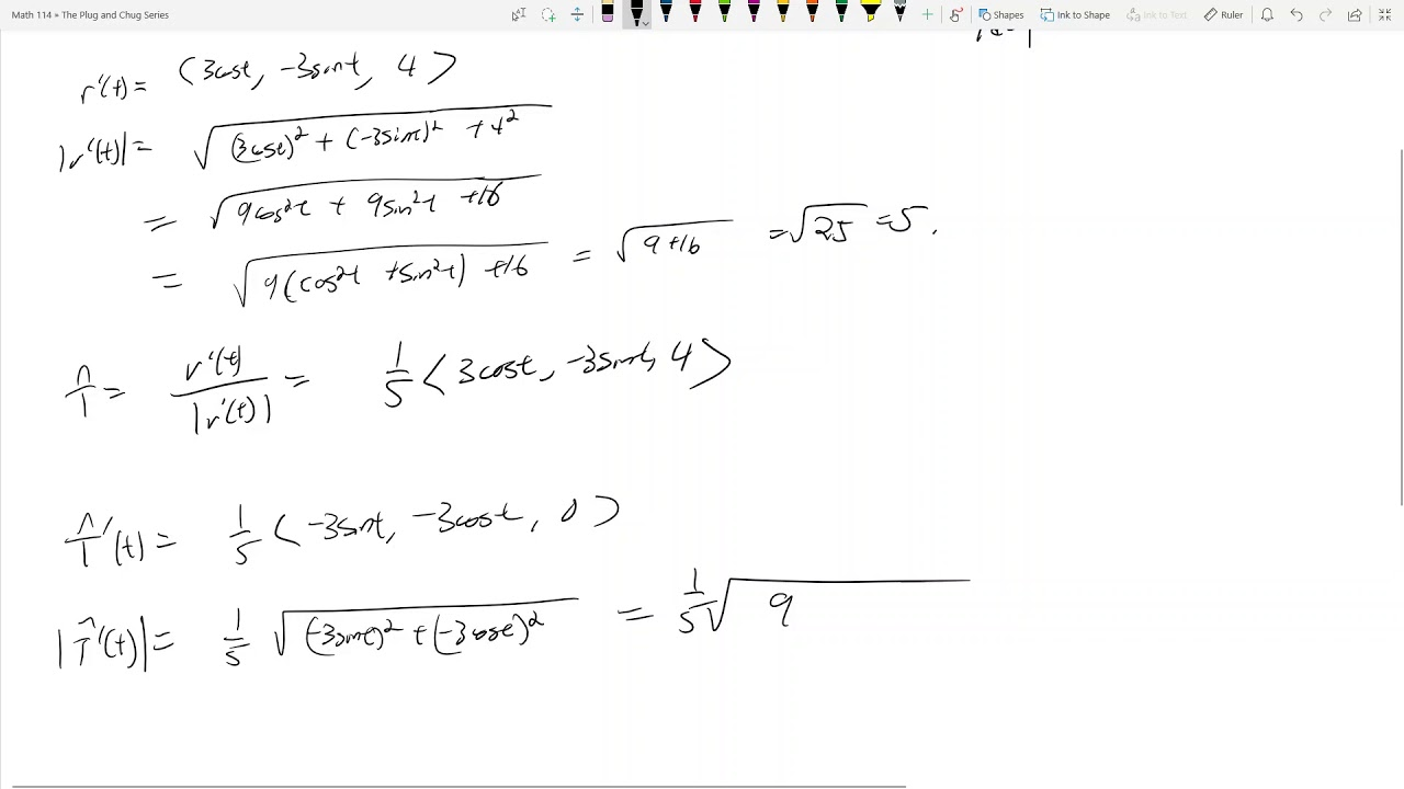 Math 114 - 13 4 - Tangent, Normal, Curvature - The Plug and Chug Series #17