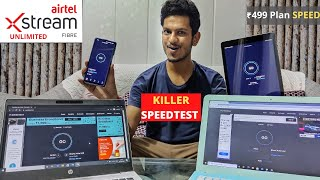 Airtel ₹499 xtremefiber speed test live with 5 devices connected together  broadband speed test 2020